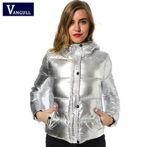 Women's Shiny Silver Puffer Jacket