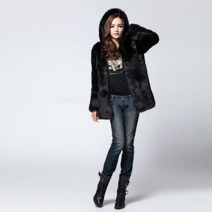 Womens Thick Faux Fur Medium - Long Hooded Winter Coat
