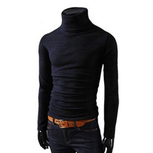 Mens Knitted Turtleneck Knitted Pullover Sweater In 8 Colors