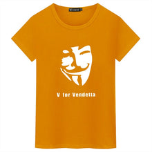 Load image into Gallery viewer, Mens V For Vendetta Fawkes Mask Funny Casual Novelty V-Neck Tee T-Shirt / Many Colors