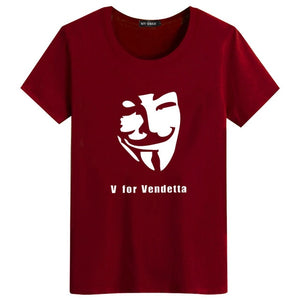 Mens V For Vendetta Fawkes Mask Funny Casual Novelty V-Neck Tee T-Shirt / Many Colors