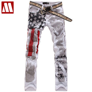 Mens US Flag Printed Straight Leg Casual Washed Cotton Jeans