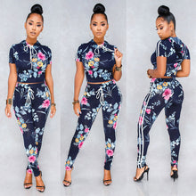 Load image into Gallery viewer, Womens 2 Piece Flower Print Crop Top Blouse & Pants Playsuit Bodysuit Jumpsuit Romper Set