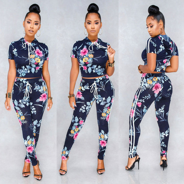Womens 2 Piece Flower Print Crop Top Blouse & Pants Playsuit Bodysuit Jumpsuit Romper Set