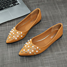 Load image into Gallery viewer, Women Spring Rivet Decoration Casual Shoes Female Pretty Square Heel Flat Shoes