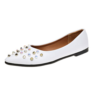 Women Spring Rivet Decoration Casual Shoes Female Pretty Square Heel Flat Shoes