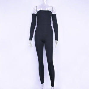Women's Black Slash Neck Pencil Long Sleeve Skinny Casual Jumpsuit Bodysuit