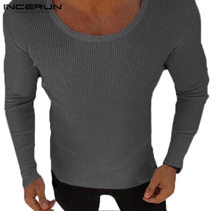 Mens Long Sleeve Casual Lightweight Muscle Tee Fitted Sweater / 3 Colors