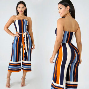 Womens Strapless Off Shoulder Striped High Waist Wide Leg Pants Jumpsuit Romper