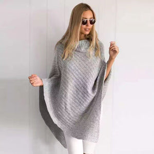 Womens Autumn Outerwear Shawl Cloak Long Sweater In 2 Colors