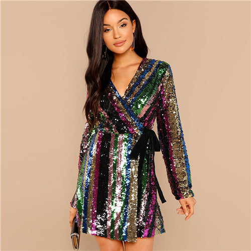 Womens Sexy Multicolor Block Sequin Wrap Natural Waist Party Dress
