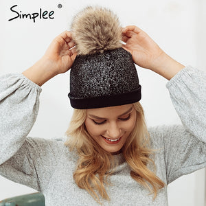 Womens Knitted Hot Stamping Fur Ball Pompom Beanie Hat