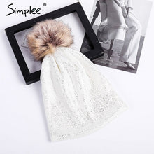 Load image into Gallery viewer, Womens Knitted Hot Stamping Fur Ball Pompom Beanie Hat