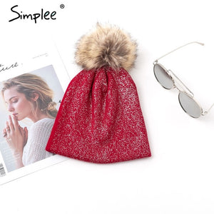 Womens And Girls Fur Hair Ball PomPom Knitted Beanie Hat