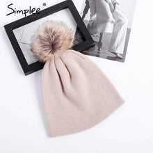 Load image into Gallery viewer, Womens And Girls Fur Hair Ball PomPom Knitted Beanie Hat