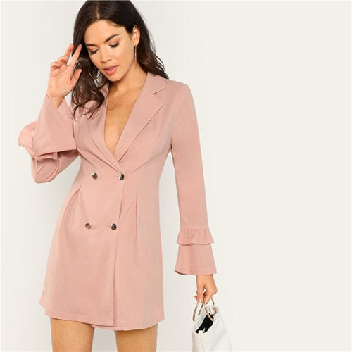 Womens Solid Pink Notched Plunging Neck Double Breasted Wrap Dress