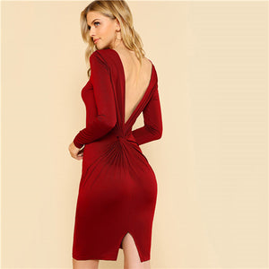 Womens Sexy Backless Twist V Back Solid Color Skinny Long Sleeve Party Dress