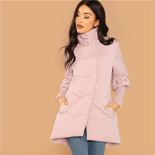 Womens Elegant Casual Pink Rhinestone Detail Padded Button Coat