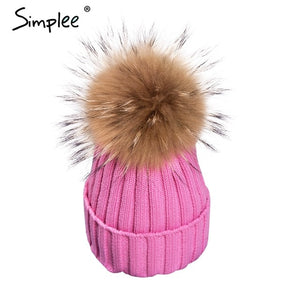 Womens And Girls Removable Fur Pompom Bobble Skullie Beanie Hat
