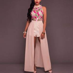 Womens Sheer Mesh Pink Floral Sleeveless Sexy Jumpsuit Romper