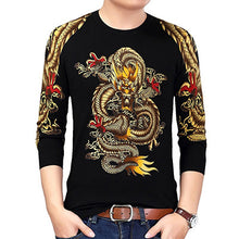 Load image into Gallery viewer, Mens Gold Dragon Print Knitted Pullover Lightweight Sweater
