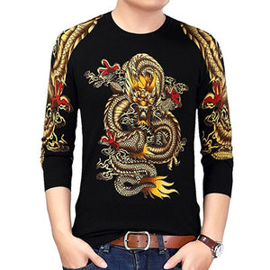 Mens Gold Dragon Print Knitted Pullover Lightweight Sweater