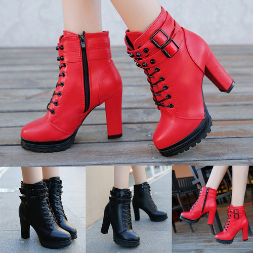 Women's High Heel Lace Up Boots