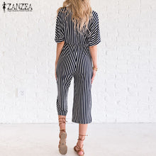 Load image into Gallery viewer, ZANZEA Women's Sexy Striped V Neck Short Sleeve Jumpsuit Romper