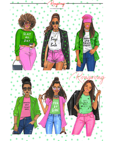 AKA Sorority Fashion Girls Planner Sticker Sheet - Four Pack