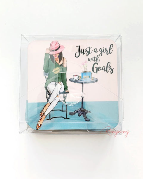 Just a Girl With Goals Coasters - Brunette -  Set of Four