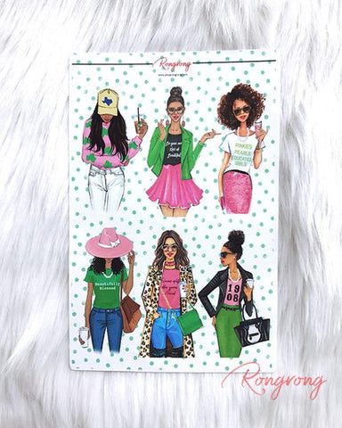 AKA Sorority Planner Sticker Sheet - Four Pack