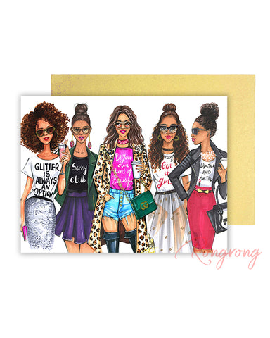 Diva Fashionistas Greeting Card - Four Pack
