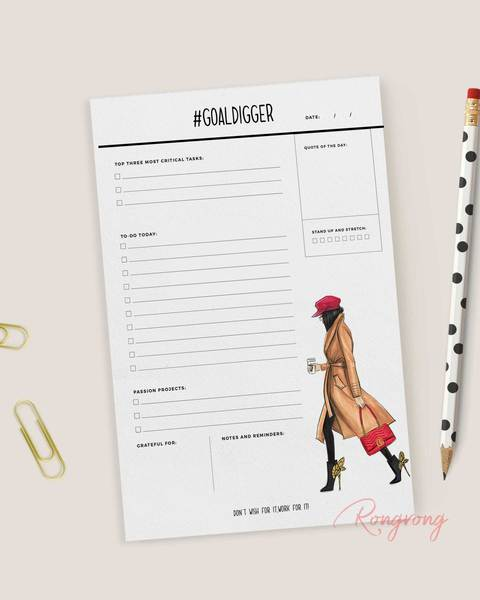 #GoalDigger Daily Planner Notepad - Brunette - Two Pack