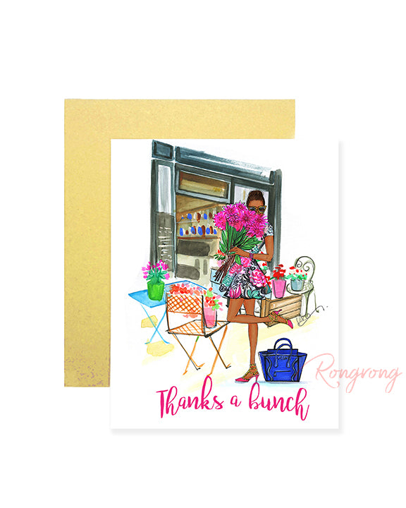 Thanks A Bunch Greeting Card- Dark- Four Pack
