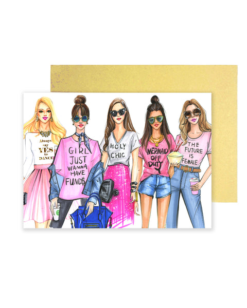 Pink Fashionista Greeting Card - Four Pack