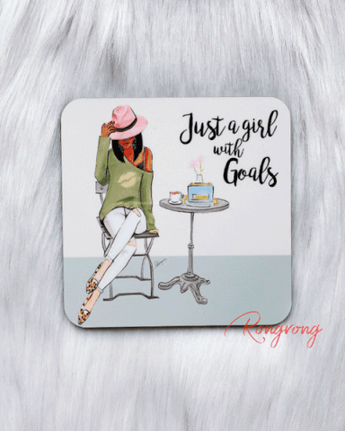 Just a Girl With Goals Coasters - Dark -  Set of Four