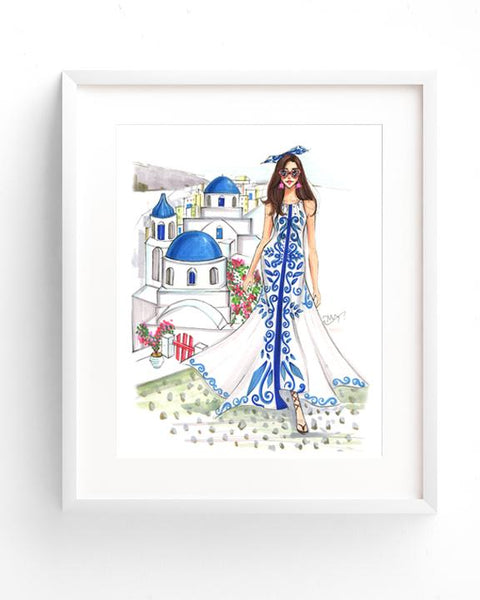 Trip to Santorini Art Print