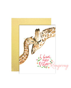 I Love My Mom Giraffe Greeting Card - Four Pack
