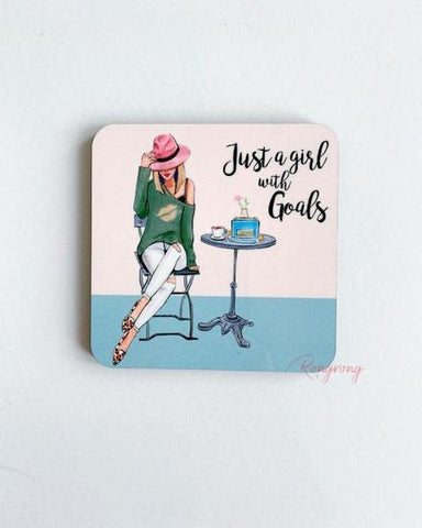 Just a Girl With Goals Coasters Blonde -  Set of Four