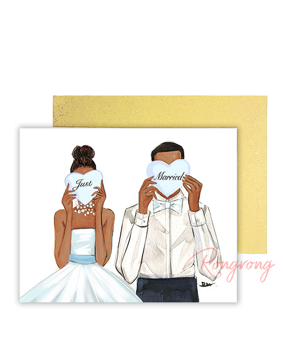 Just Married Greeting Card - Four Pack