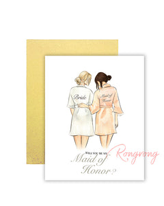 Will You Be My Maid of Honor Greeting Card - Four Pack
