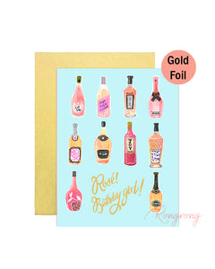 Rosé Birthday Girl Greeting Card - Four Pack