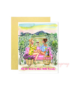 Wine With Friends is My Therapy Greeting Card - Four Pack