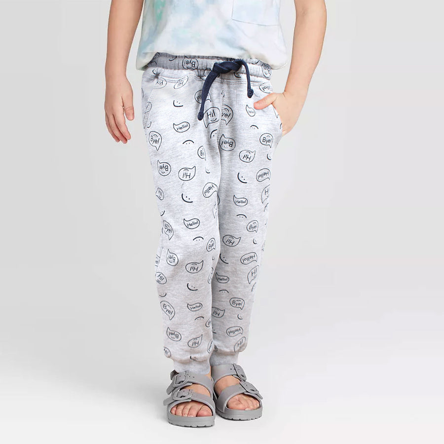 BOYS EXPORT QUALITY GREY PRINTED REGULAR FIT TROUSER