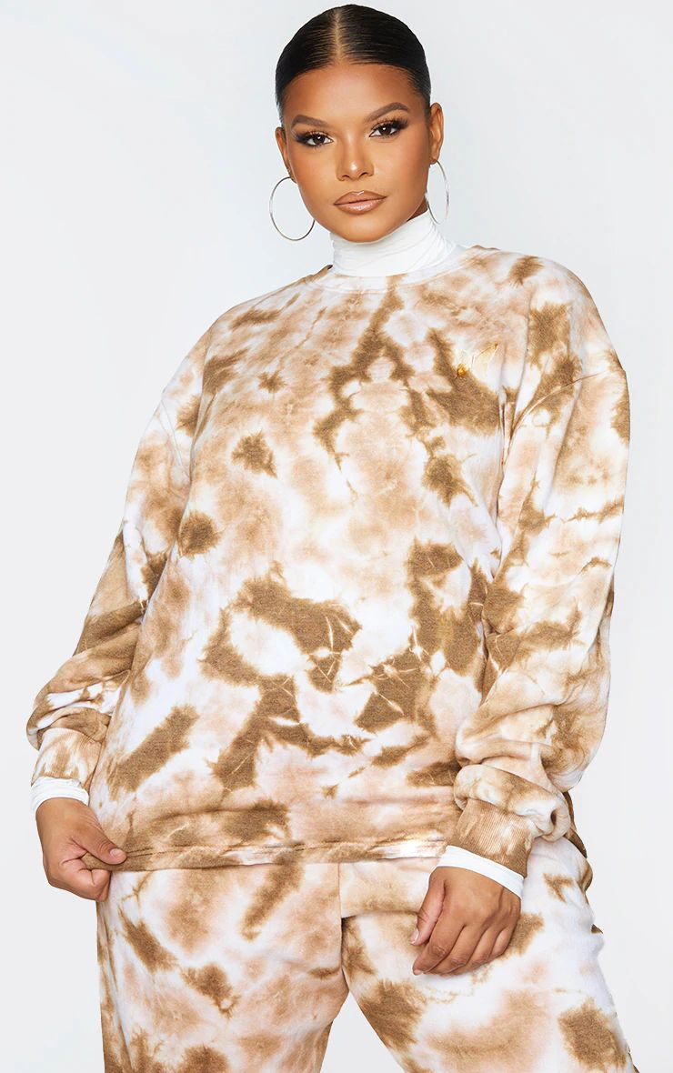 STONE TIE DYE LONG LENGTH BIG SIZE SWEAT DRESS