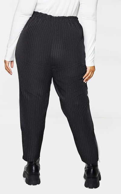 BLACK PINSTRIPE HIGH WAIST TROUSER WITH CONTRAST ZIP