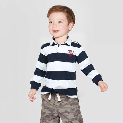 Boys Light Weight White/Navy Full Sleeves Yarn Dyed Polo Shirt 100% Cotton - Big Brands | Small Prices | Exportbrands.pk