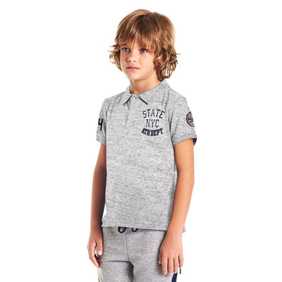 Boys Grey Regular Fit Shenile Embroidered Polo Shirt 100% Cotton - Big Brands | Small Prices | Exportbrands.pk