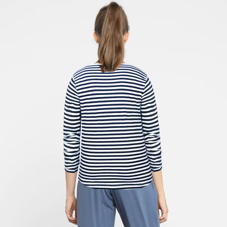 WOMEN FULL SLEEVES YARN DYED STRIPES T-SHIRT