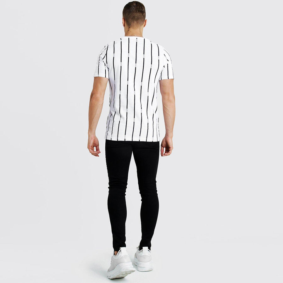 BOOHOO MAN WHITE VERTICAL STRIPES MEN T-SHIRT